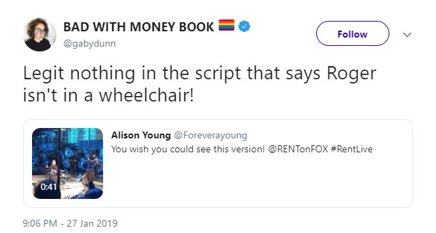 A screenshot of a Jan 27, 2019 9:06pm retweet by BAD WITH MONEY BOOK (@gabydunn) which reads: