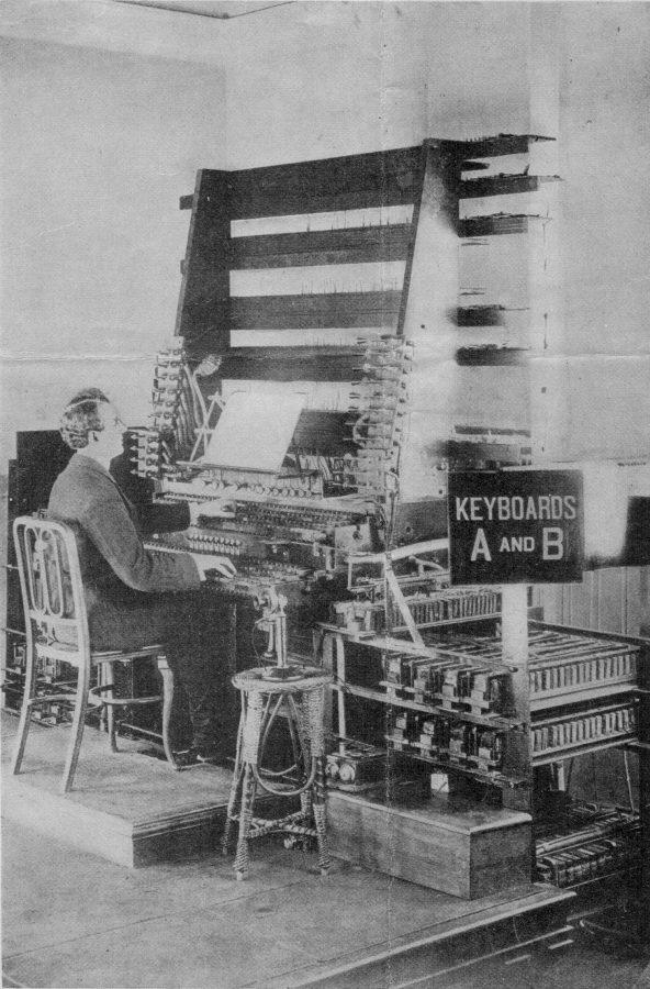 At the Telharmonium keyboard