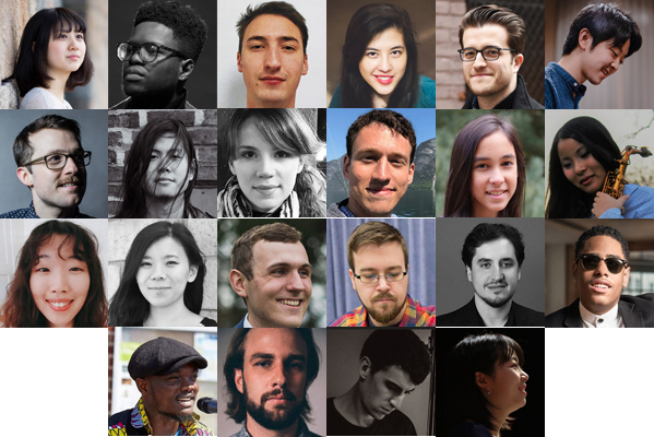 The 18 winners of the 2019 Herb Alpert Young Jazz Composer Award... Top row (left to right): Eri Chichibu, Eddie Codrington, Shimon Gambourg, Ariel Sha Glassman, Philip Ryan Goss, and Takumi Kakimoto; second row (L to R): Brian Krock, David Ling, Martina Liviero, Ben Morris, Peyton Nelesen, and Yu Nishiyama; third row (L to R): Jueun Seok, Sara Sithi-Amnuai, Elliott Turner, Gregory Weis, and Alex Weitz, and Matthew Whitaker;  bottom row, The four honorable mentions (L to R): Samuel Boateng, Thomas B. Call, Andrew Schiller, and Yoko Suzuki. (Photos courtesy of the ASCAP Foundation)