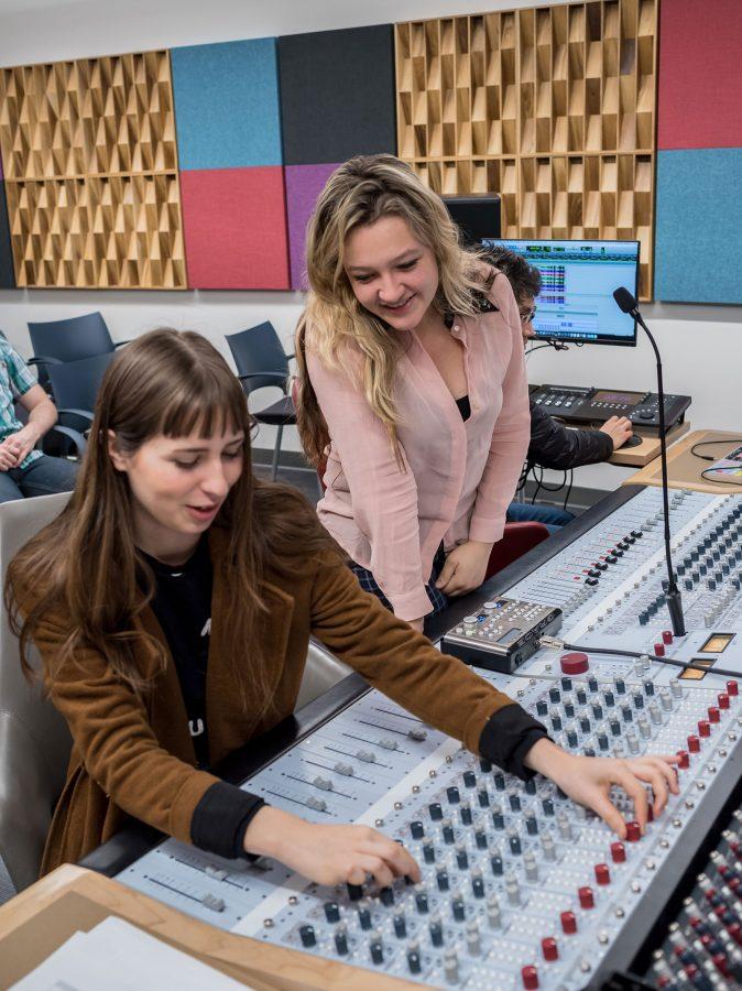 Danielle Ferrari at the mixing desk