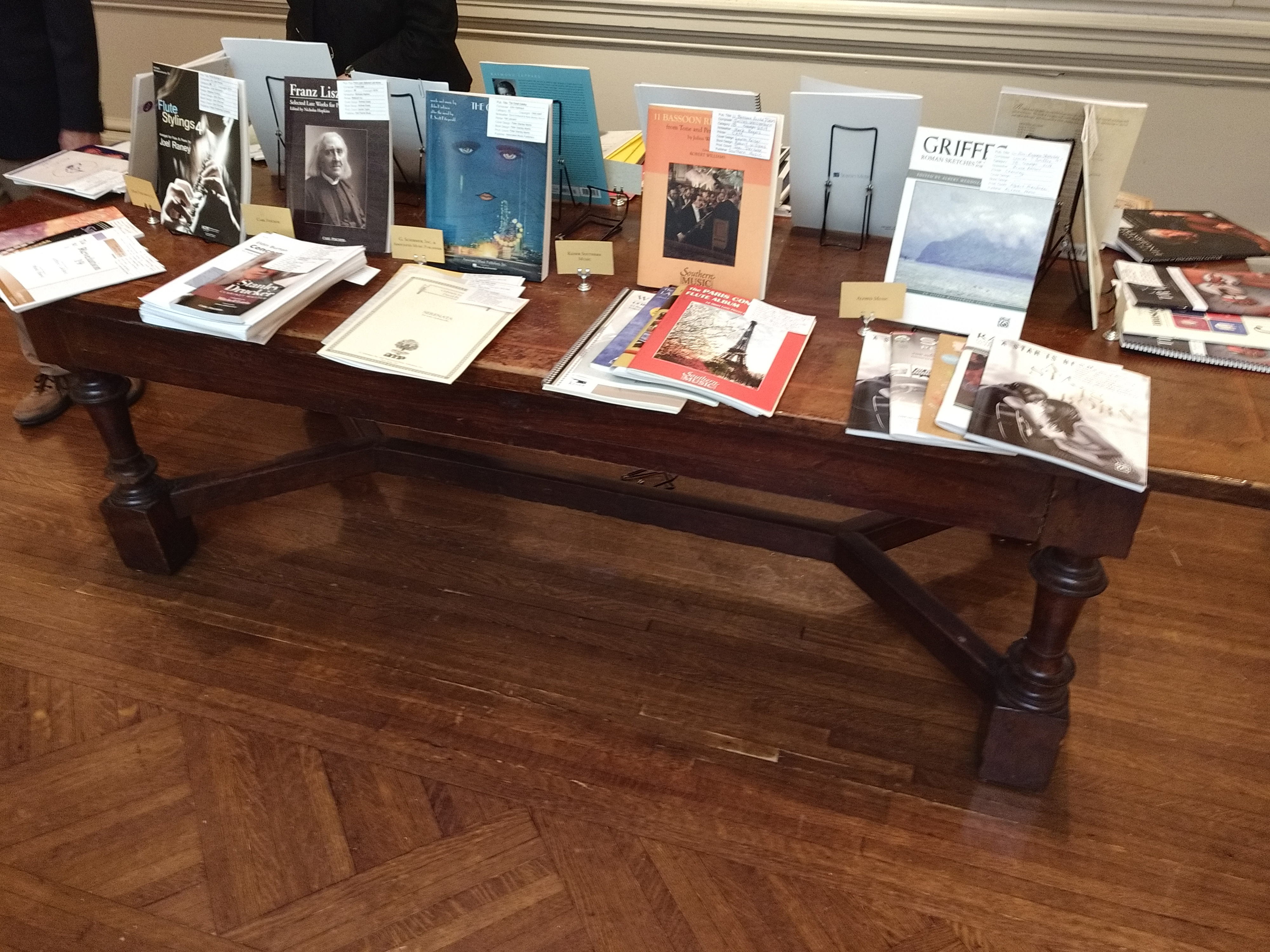 Some of the 2019 Paul Revere award winning sheet music publications on display on a table in the back of the room during the 2019 Music Publishers Association's annual membership meeting.