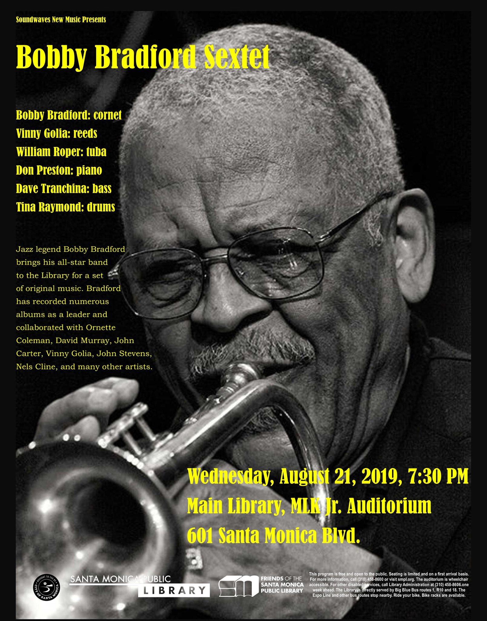 event image for 08/21/2019: with Bobby Bradford Sextet, MLK Jr. Auditorium, Santa Monica Library