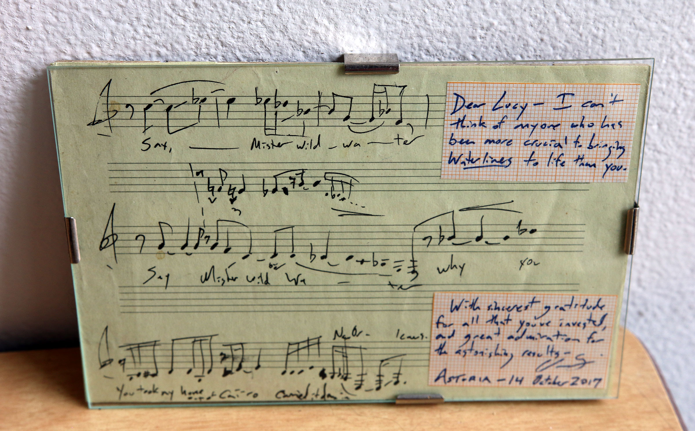 Excerpt of handwritten score of melody line of Christopher Trapani's Waterlines