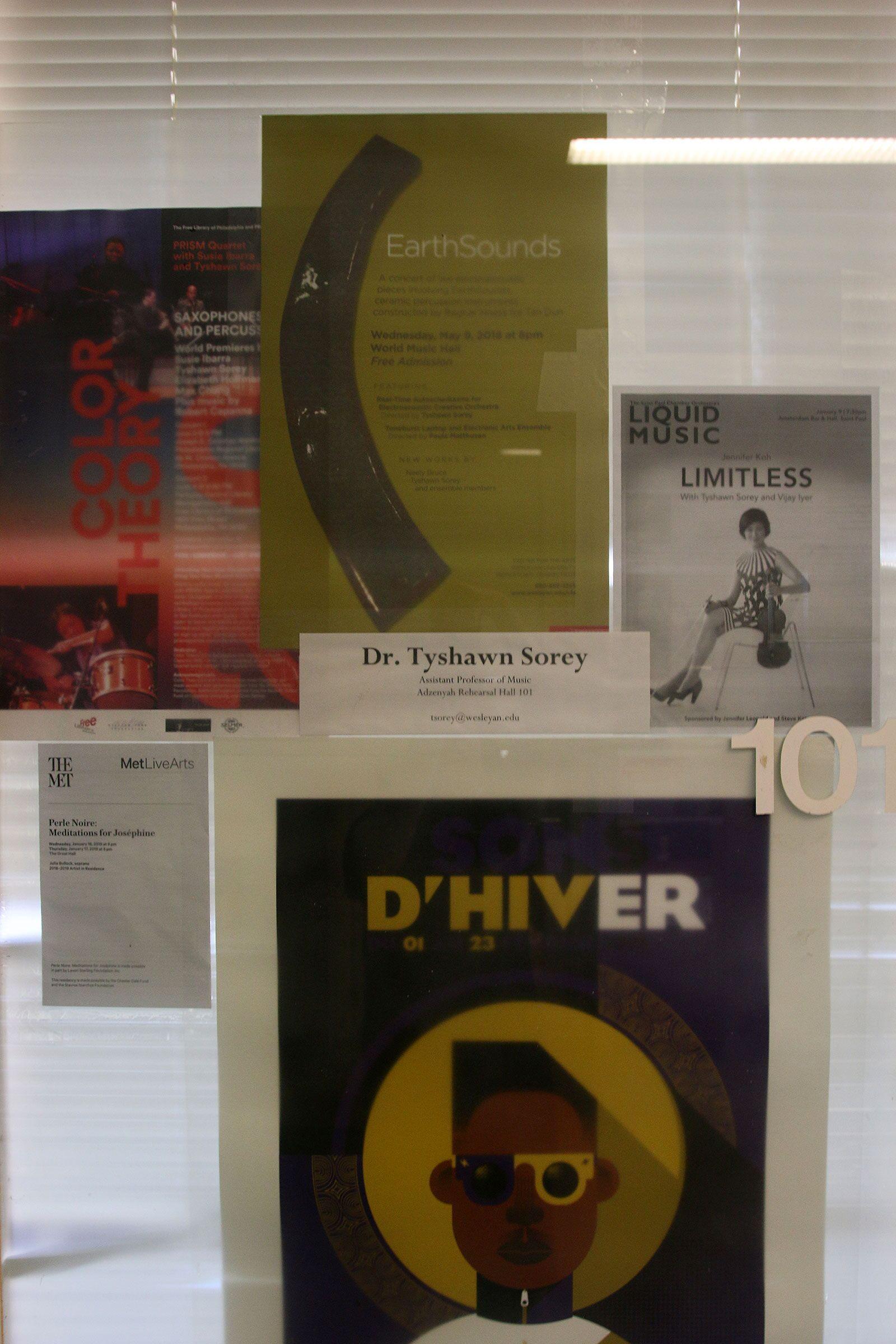 The door of Tyshawn Sorey's office at Wesleyan University.