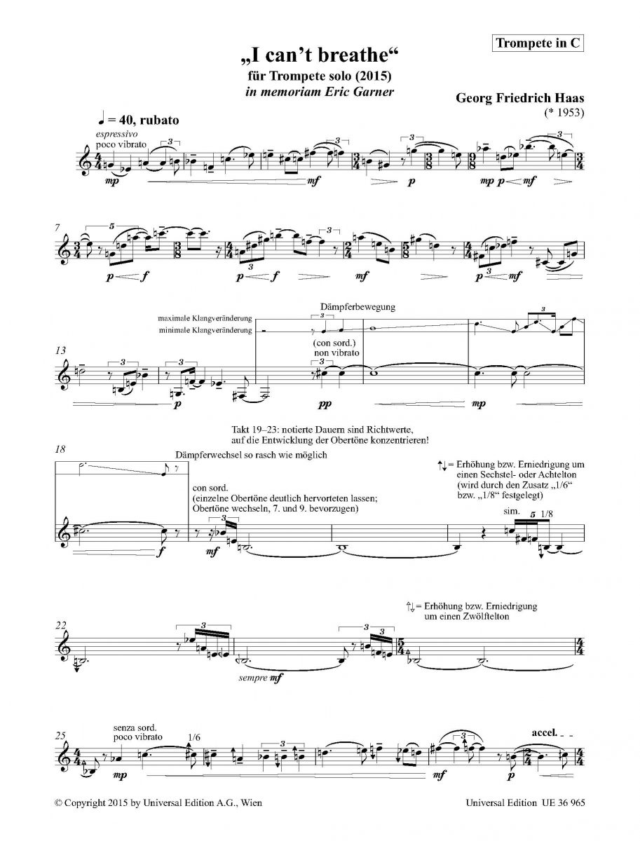 "The first page of the musical score of Georg Friedrich Haas ""I can't breathe"" Copyright © 2015 Universal Edition Vienna."